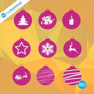 PSD christmas decorations icons set