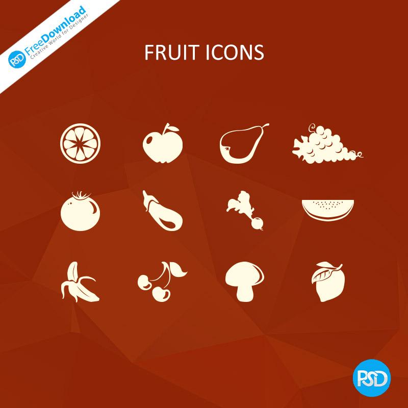 Fruit icons PSD Free