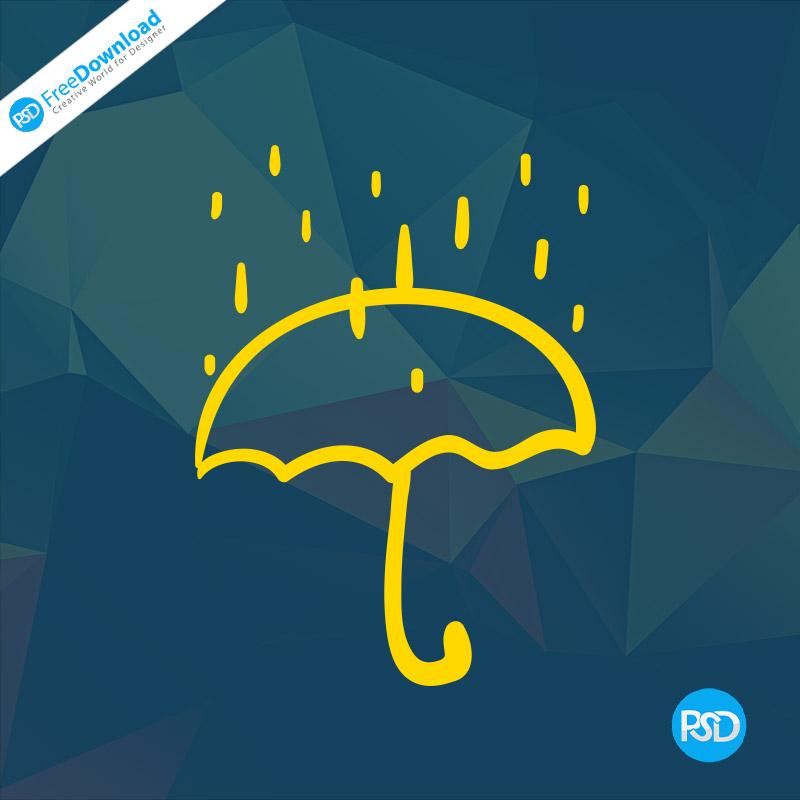 PSD Rainy Umberlla Icon Free