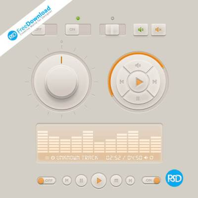 Free Stereo System Control Buttons PSD
