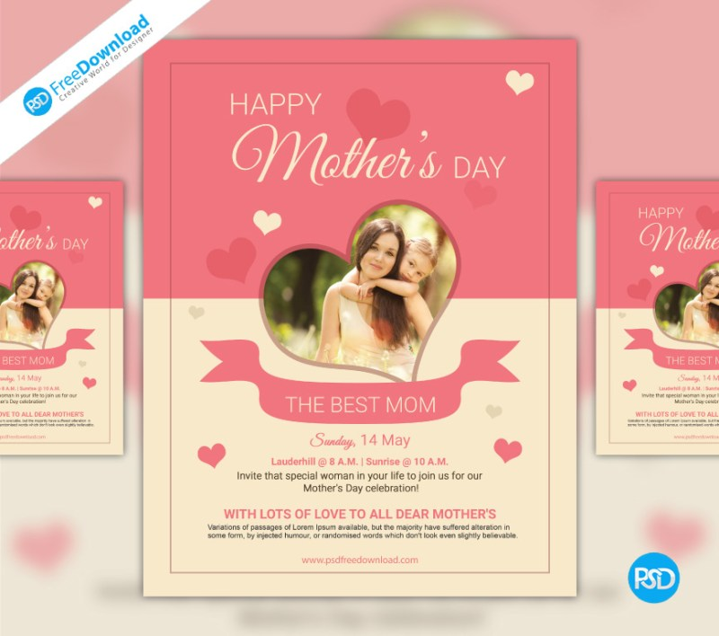 I Love You Mom Happy Mothers Day Flyer Template Psd Free: Free Mothers Day PSD Flyer Template