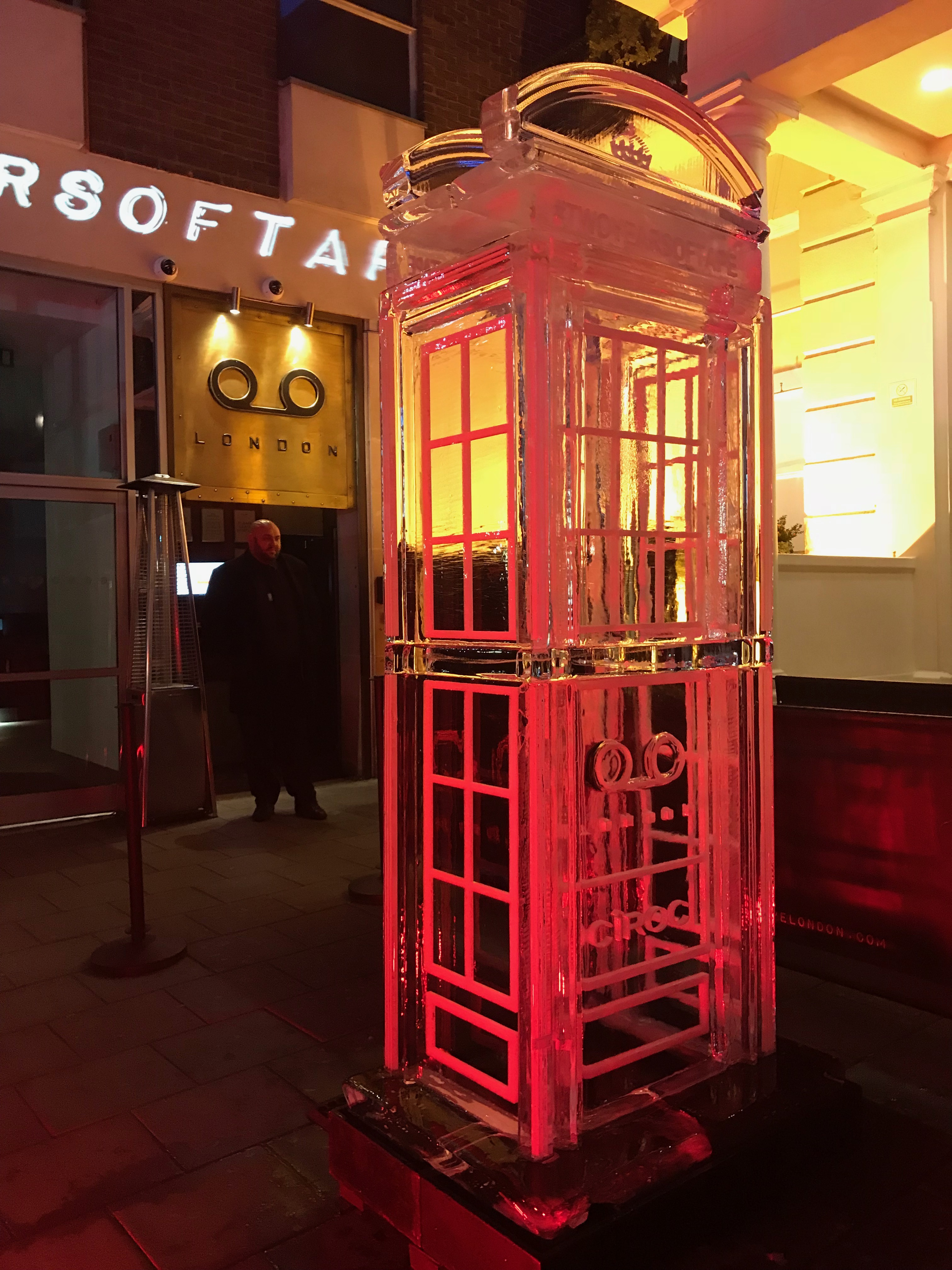 tape telephone box ice sculpture