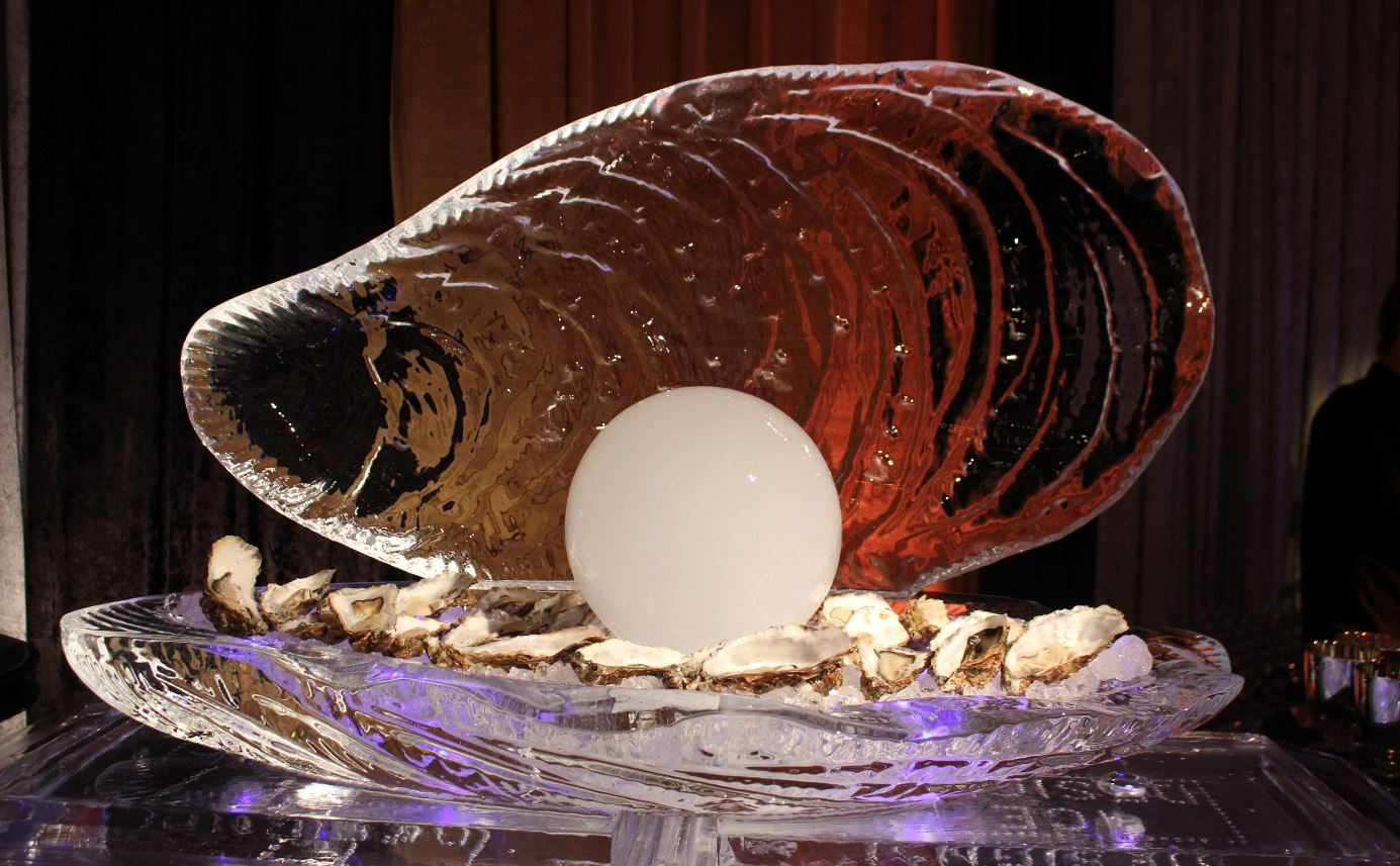 Oyster shell with white ice pearl food display