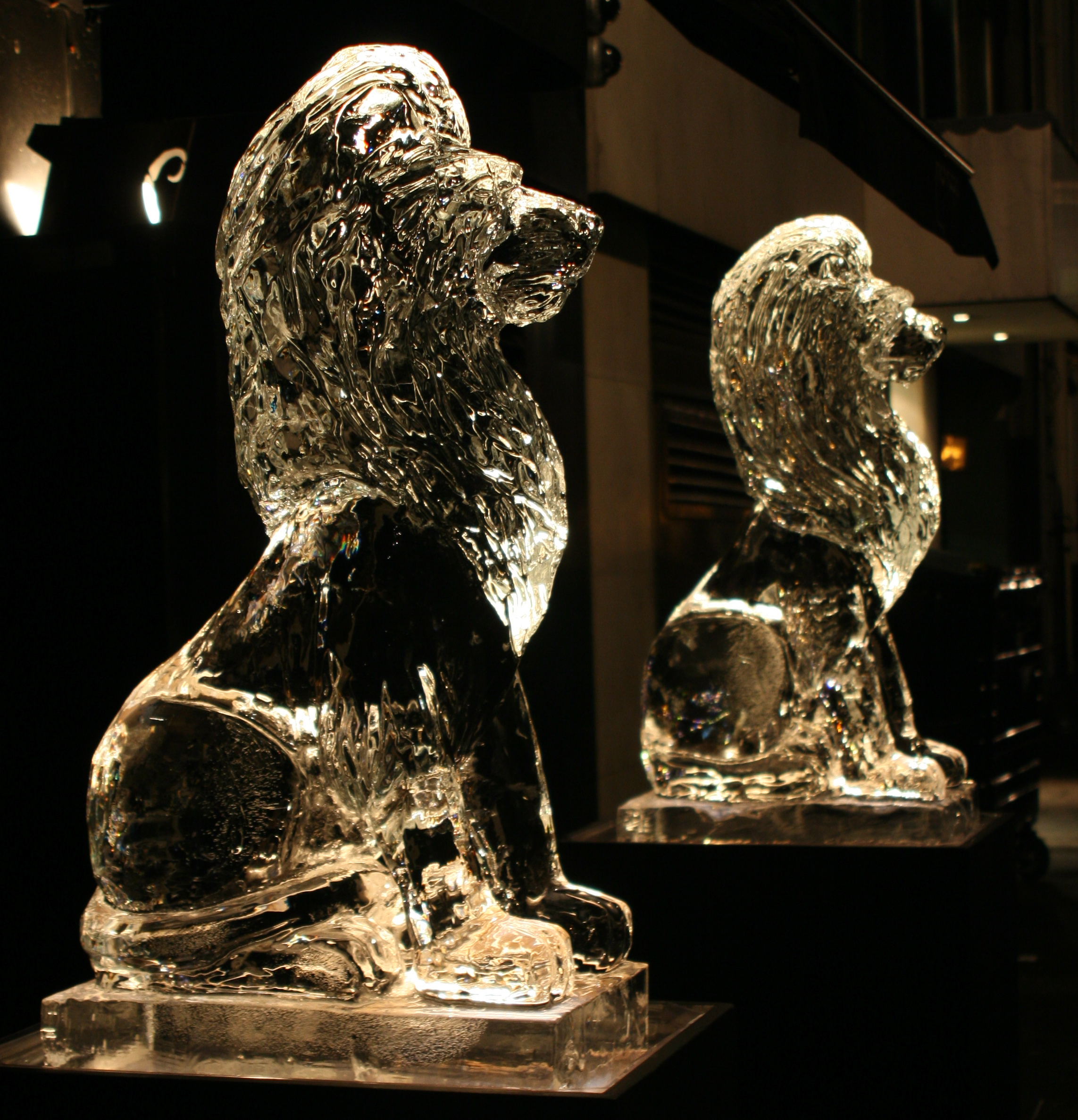 Pair Of Lions Ice Sculpture