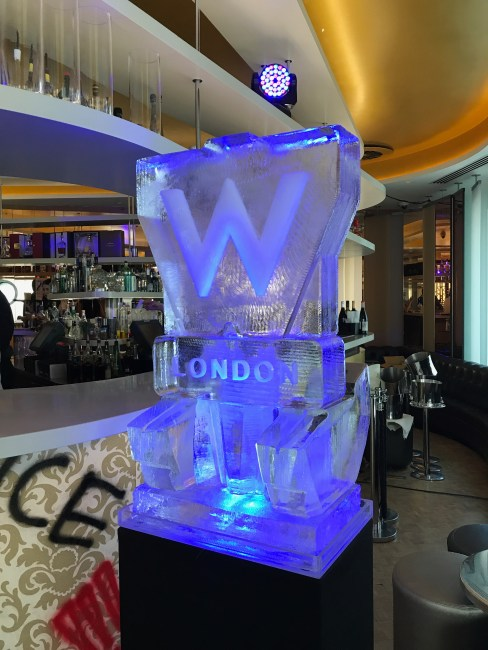 W Hotel logo ice sculpture