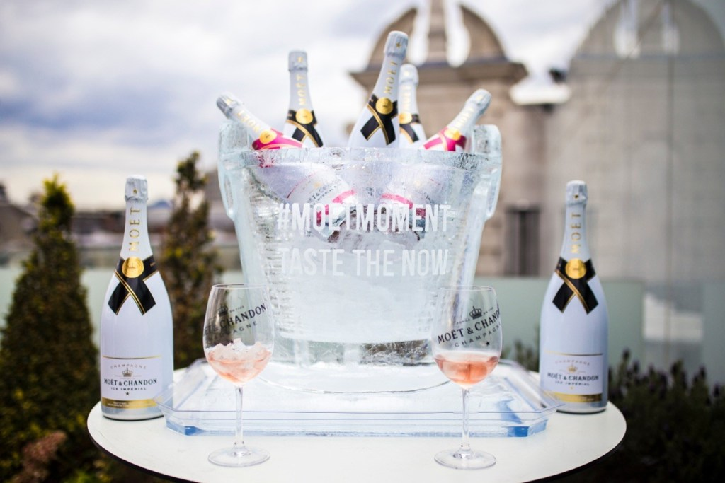 Moet ice bucket made of ice