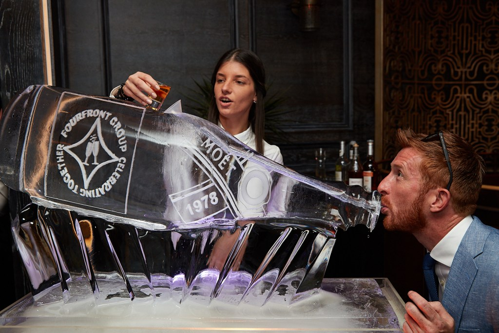 Champagne Bottle luge in action