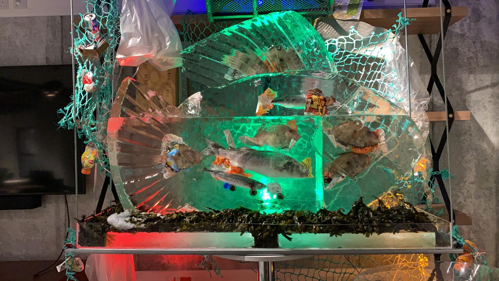 fish ice sculpture by PSD Ice art