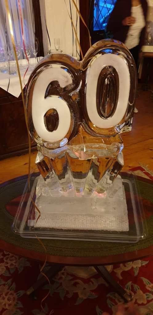Number 60 ice sculpture