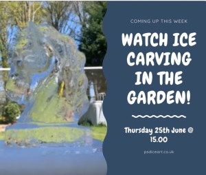 ICE CARVING IN THE GARDEN