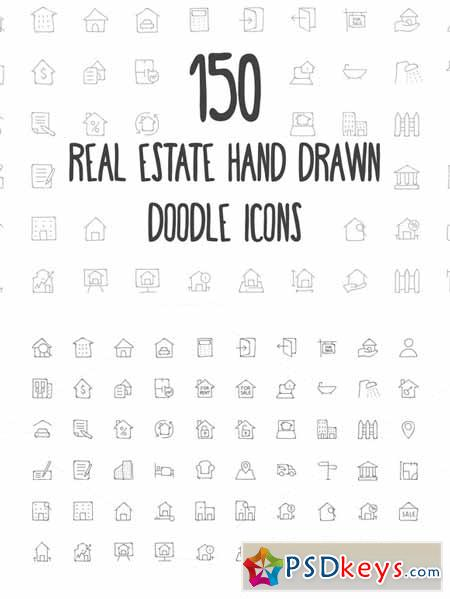 Real Estate Hand Drawn Doodle Icons 160806 » Free Download
