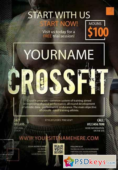 Crossfit PSD Flyer Template Facebook Cover Free Download Photoshop Vector Stock Image Via