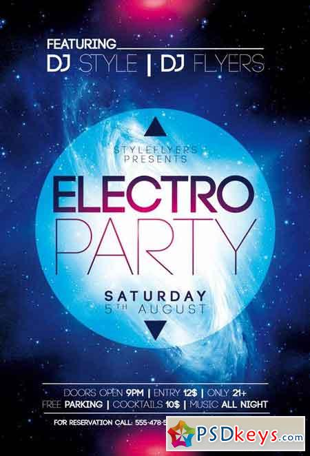 Electro Party PSD Flyer Template Facebook Cover » Free