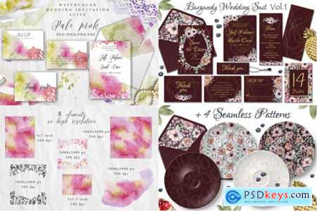 Watercolor Wedding Invitations Suits Giant Bundle Free