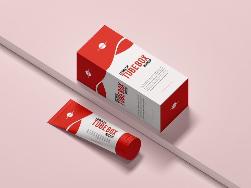 Download Free Cosmetic Tube Box Mockup - PSDKits