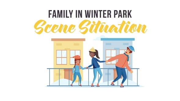 Videohive Family in winter park Scene Situation 29246930