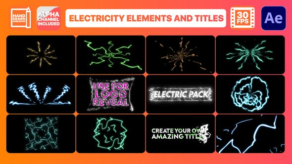 Videohive Electricity Elements And Titles After Effects 29363381