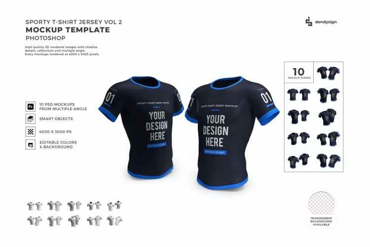 Tshirt Jersey Mockup Template Set Vol 2 AW6EA7W