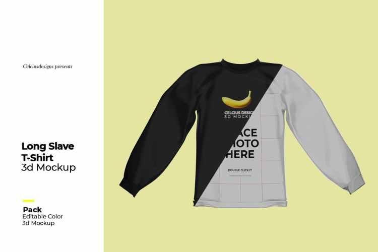 3D T-Shirt Long Slave Mock Up 43T347E