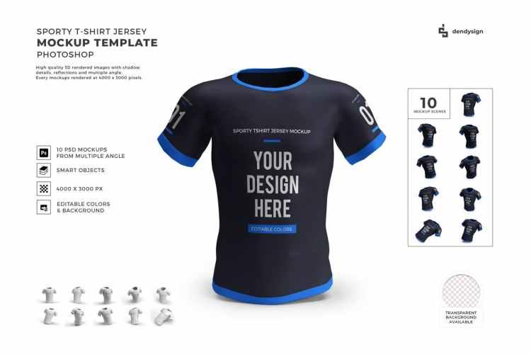 Sporty Tshirt Jersey Mockup Template Set GSGPJAX