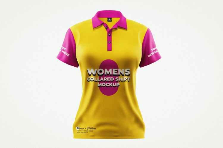 Women Collar T-Shirt Mockup Template XN6RZQX