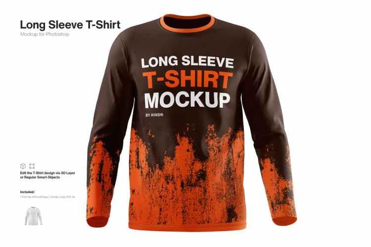 Long Sleeve T-Shirt Mockup 72Q7GH2