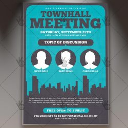 meeting flyer community template psd hall invitation psdmarket council premium town flyers invite templates discussion webinar townhall conference team corporate