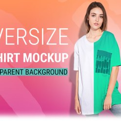 Woman oversize T-shirt mockup