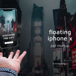 Floating iPhone X PSD Mockup Free