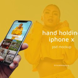 Hand Holding iPhone X Free Mockup