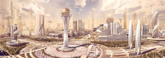 Futuristic Fantasy City Concept Art