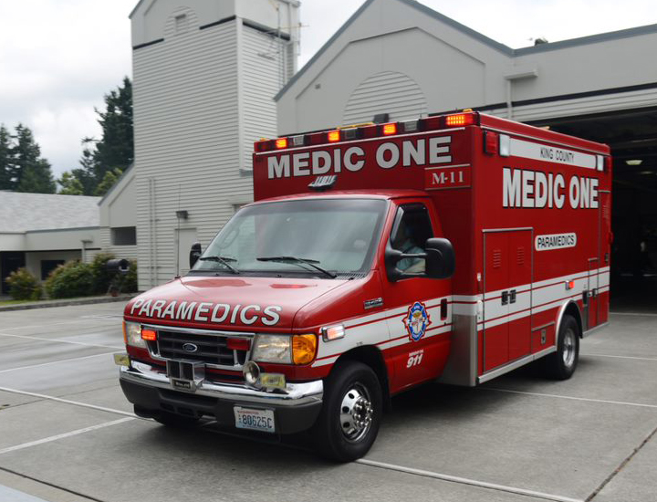 Medic rig outside of fire station