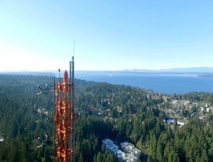radio tower, landscape city and water
