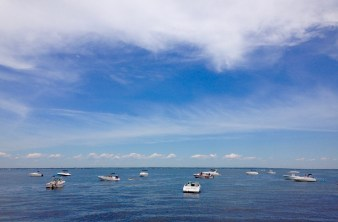 All the boats anchored in the bay.