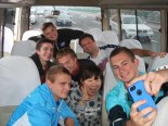 The Missouri students and Amber, one of the Chinese volunteers, shooting a selfie on the way to The Great Wall.
