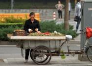 A street vendor, selling walnuts.