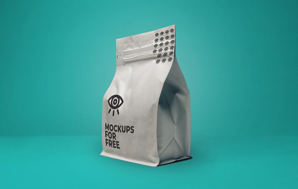 Cookie, candy, sugar, cracker, nuts, supermarket foil frozen plastic container ready for logo design presentation. Plastic Bag Mockup Psfiles