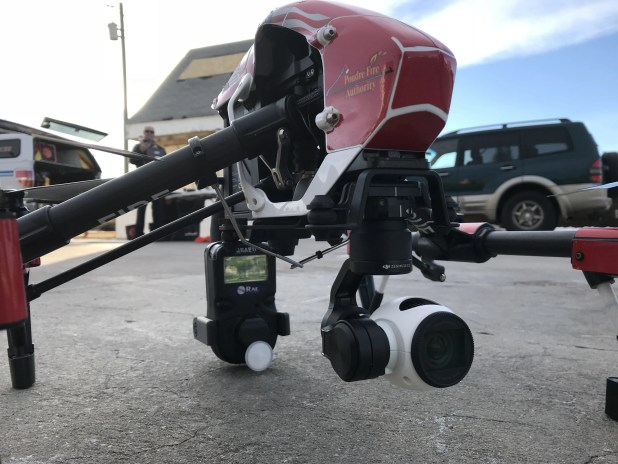 DJI Inspire UAS fitted with combustible gas detector.