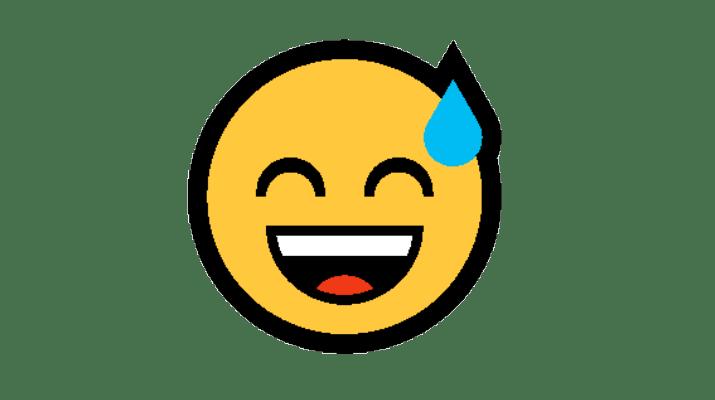 Emoji Rosto Sorridente com boca aberta e suor frio