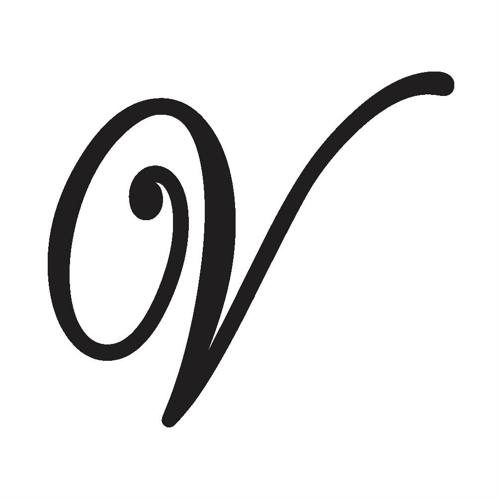 v cursive writing