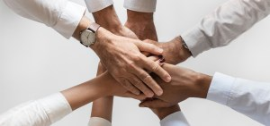 hands of business professionals in white dress shirts being joined over a white background