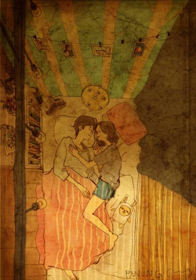 prova de amor casal na cama sorrindo