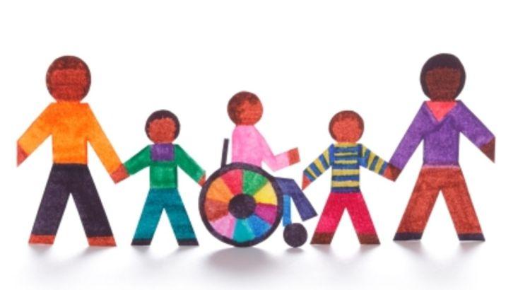 inclusão, cadeira de rodas, crianças juntas, roda de inclusão