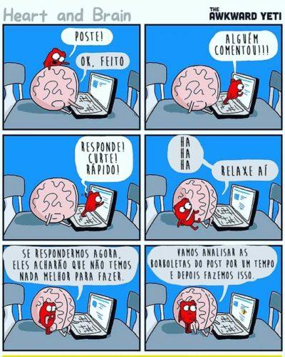 Cerebro coracao nas redes sociais