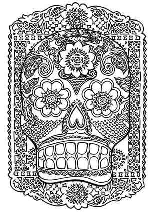 desenhos para colorir antiestresse download - cranio mexicano