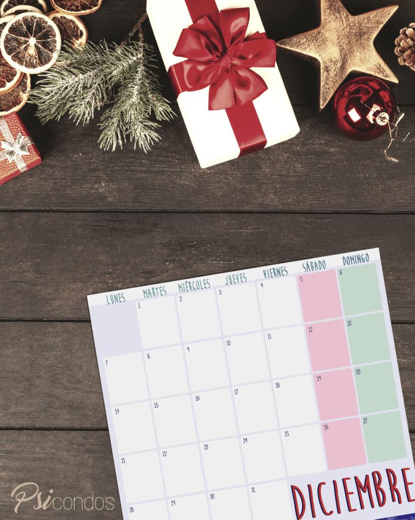 calendario de diciembre de 2020