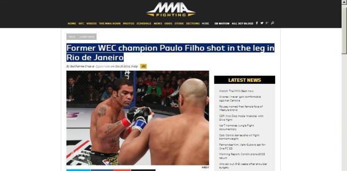 Site internacional Mma Fightng - matéria exclusiva sobre Paulão Filho.
