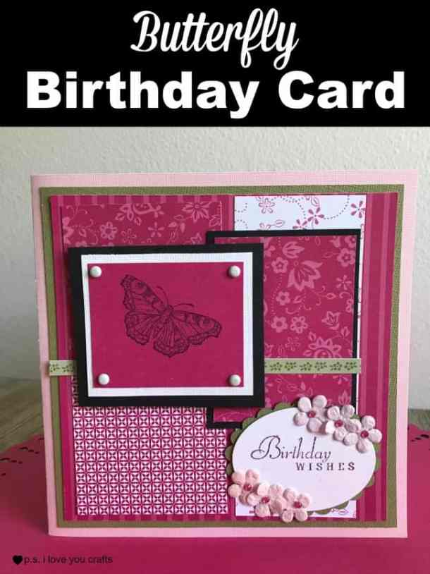 Make a stunning butterfly birthday card using hot pink and black paper, a butterfly rubberstamp, and a birthday stamp.