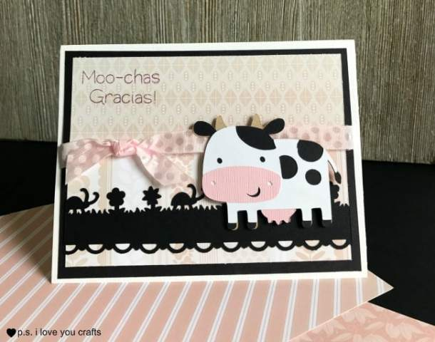 Make a Cricut Cow Card using the Create A Critter Cricut Cartridge, a stamp from My Pink Stamper and some border punches.