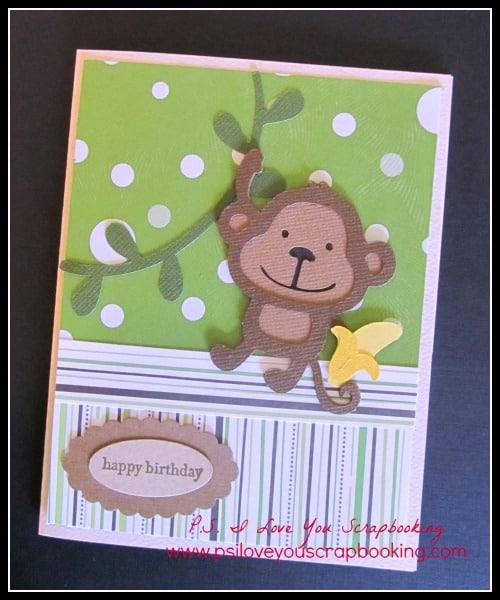 Monkey Cricut Card Ps I Love You